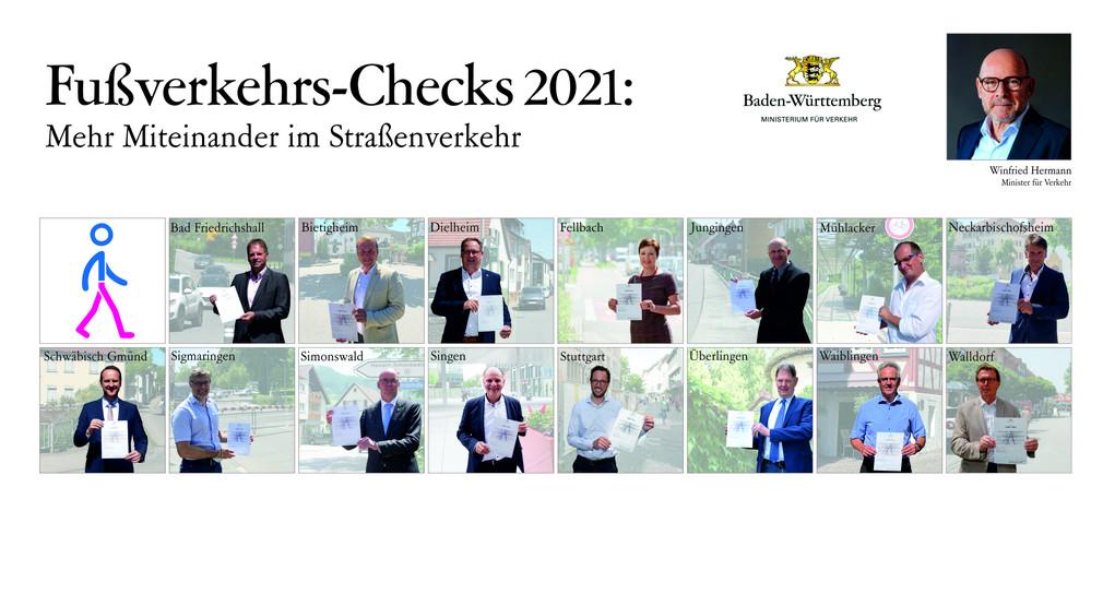 16 Personen sind mit einem Porträtfoto unter der Überschrift Fußverkehrs-Checks 2021 abgebildet und halten jeweils eine Urkunde in die Kamera