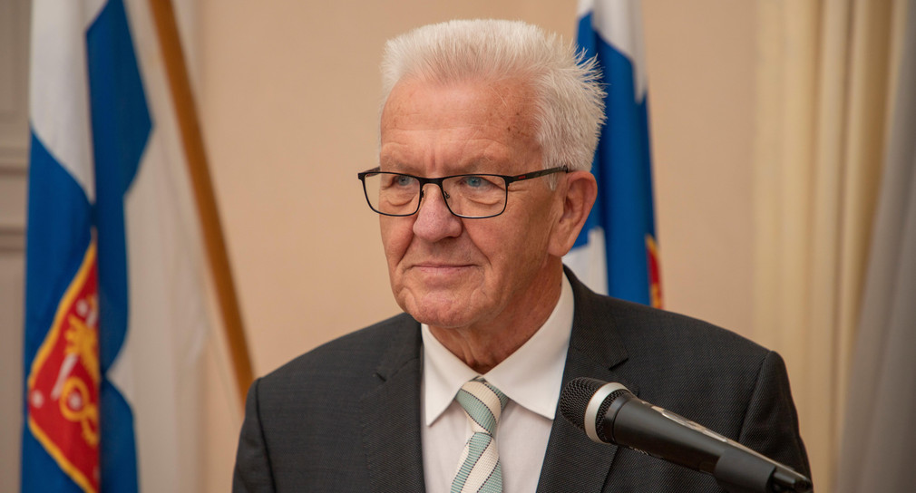 Ministerpräsident Winfried Kretschmann bei einem Empfang des Regionalverwaltungsamtes Nordfinnland in Oulu (Finnland) (Bild: © Staatsministerium Baden-Württemberg)