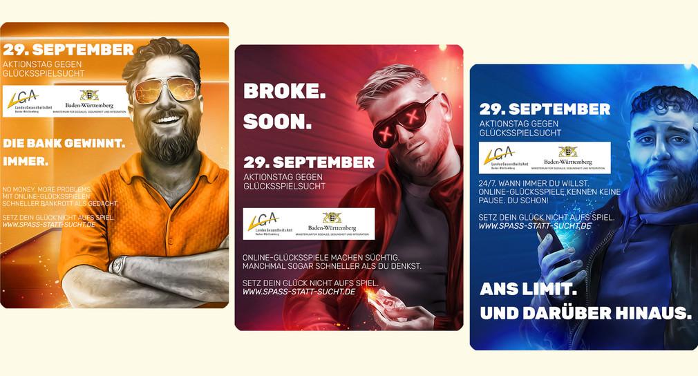 """Drei Plakate zum Aktionstag gegen Glücksspielsucht zeigen junge Männer neben Slogans wie """"Die Bank gewinnt. Immer."""""""