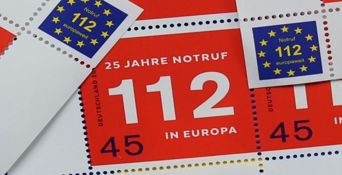 Briefmarken mit der europaweiten Notrufnummer 112